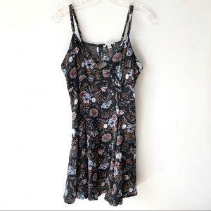 American Eagle   Black Floral Cutout Mini Dress